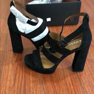 NEW Coach suede heeled sandals